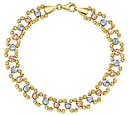 14K Gold 7-1/2 Tri-Color Beaded Link Bracelet,8.6g - J385747