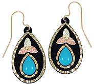 Black Hills Turquoise Teardrop Dangle Earrings,10K/12K Gold - J386247