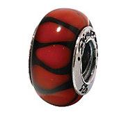 Prerogatives Sterling Red/Black Stripe Glass Bead - J108848