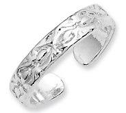 Sterling Etched-Design Toe Ring - J111448
