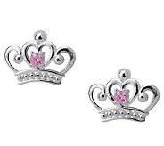 Disney Sterling Princess Pink Diamonique Stud E arrings - J112548