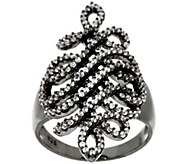 As Is Italian Silver Sterling 9/10 cttw Diamonique Swirl Ring - J327048