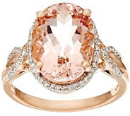 Oval Morganite and Diamond Ring, 14K Gold 5.00 ct - J329548