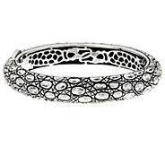 JAI Sterling Croco Texture Hinged Bangle Bracelet 51.1g - J346048