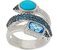 Judith Ripka Sterling Silver 2.50 cttw Blue Topaz & Turquoise Ring - J348448