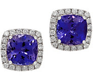 Cushion Tanzanite and Diamond Stud Earrings, 14K, 2.60 cttw - J353748