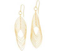 Italian Silver 3 Diamond Cut Marquise Drop Earrings - J358148