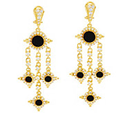As Is Judith Ripka Sterling & 14K Clad Faceted Black Spinel Earrings - J359948