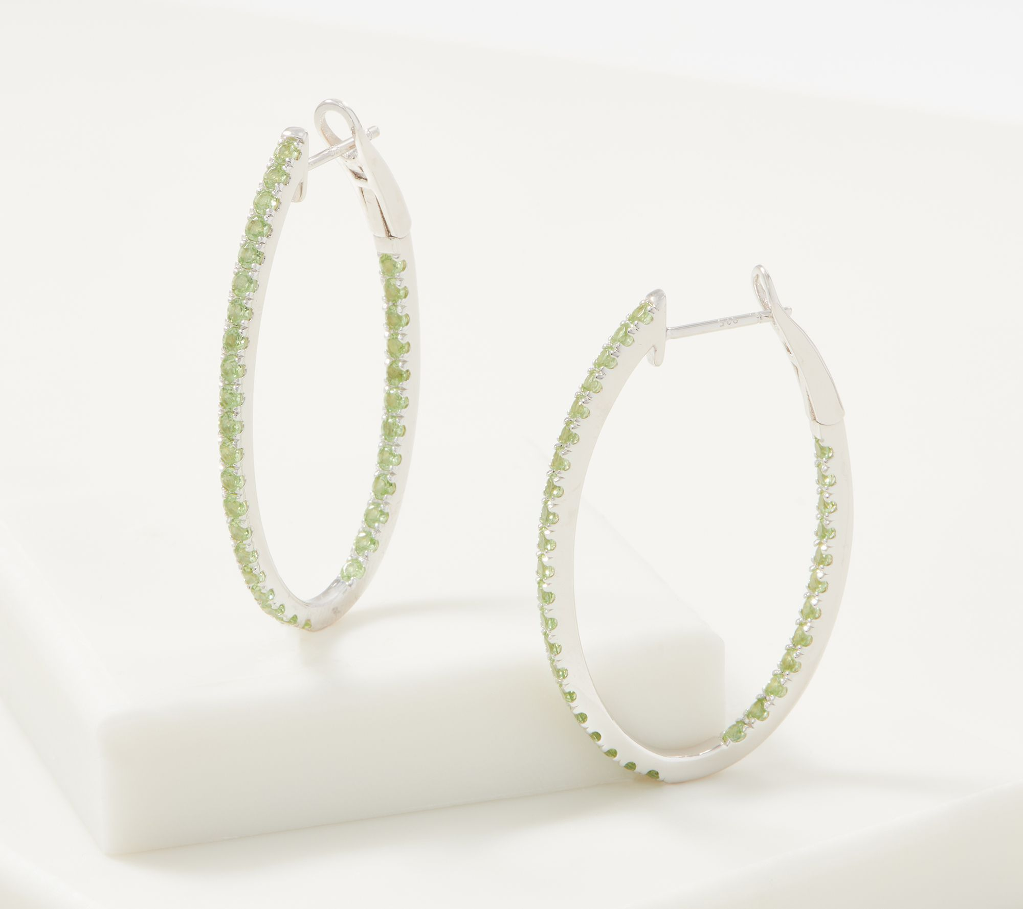 6041660df8ffe Gemstone Inside Out Oval Hoop Earrings, 2.25 cttw. — QVC.com