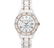 Bulova Womens Ceramic Rosetone Marine Star Diamond Watch - J378548