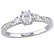 Affinity 14K Gold 6/10 cttw Oval Diamond 3-Stone Ring - J381348