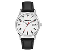 Caravelle Mens Stainless Easy Reader Leather Watch - J383348