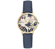 Vince Camuto Womens Floral Dark-Blue Leather Strap Watch - J383448