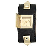 Vince Camuto Womens Goldtone Studded Black Leather Cuff Watch - J383548