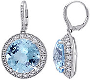 14K 30.50 cttw Topaz & 1/10 cttw Diamond Halo Dangle Earrings - J392248