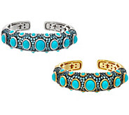 Judith Ripka Sterling or 14K Clad Turquoise & Blue Topaz Cuff - J58848