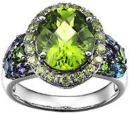 5.50cttw Multi-Gemstone Halo Ring, Sterling - J338549