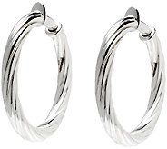 UltraFine Silver 1-1/2 Twisted Clip-On Hoop Earrings - J340949