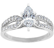 Curved Diamond  Ring, 14K White Gold 3/4 cttw,by Affinity - J341449