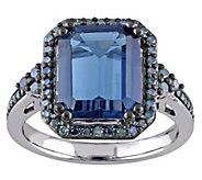 5.20 ct London Blue Topaz & 3/10 cttw Blue Diamond Ring, 14K - J343349