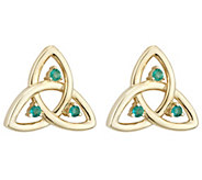 Solvar Emerald Accent Trinity Knot Stud Earrings, 14K - J343549