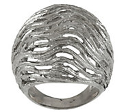 As Is Italian Silver Sterling Textured & Satin Finish Domed Ring - J346149