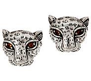 JAI Sterling Silver Leopard Stud Earrings - J348549