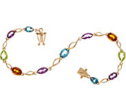 Multi-Cut Gemstone 7-1/4 Tennis Bracelet 14K Gold - J349749