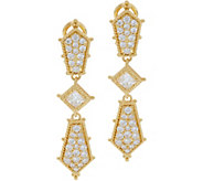 Judith Ripka 14K Clad Diamonique Drop Earrings 2.45 cttw - J349949