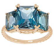 Judith Ripka 14K Gold London Blue Topaz Ring, 6.00 cttw - J355349