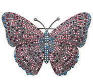 As Is Joan Rivers Midnight Crystal Butterfly Pin - J358549