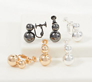 Joan Rivers Set of 3 Pierced or Clip Metallic Ball Earrings - J358649