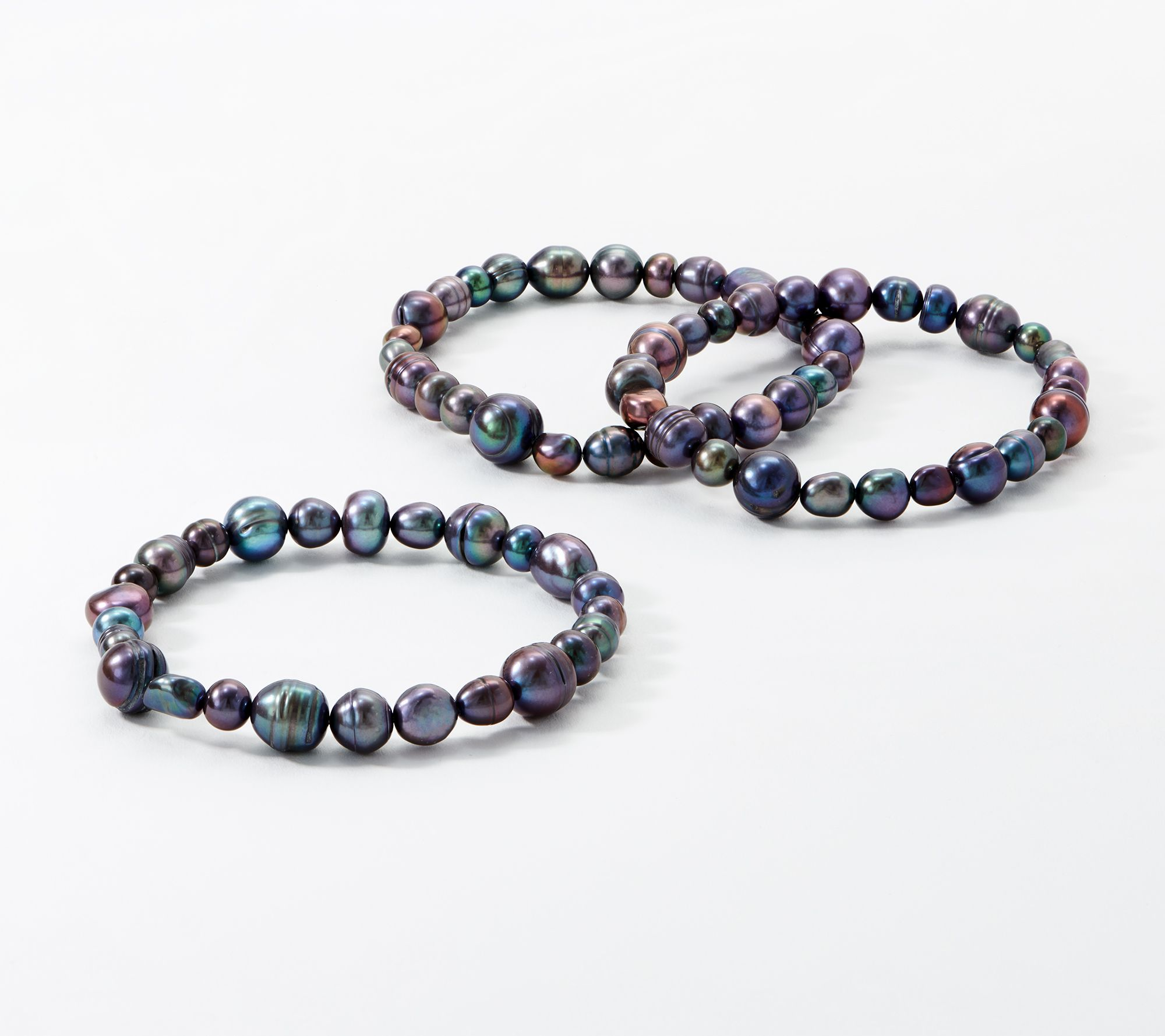 Honora Set Of 3 Cultured Freshwater Pearl Stretch Bracelets Qvc