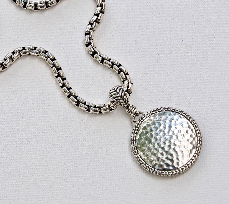30% savings on sterling silver hammered circle reversible enhancer