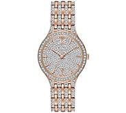 Bulova Womens Rosetone Crystal Watch with PaveDial - J375149