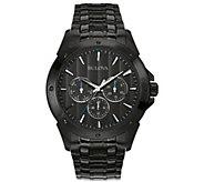 Bulova Mens Black Stainless Steel Multi-Function Watch - J384449