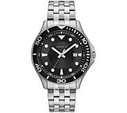Caravelle Mens Stainless Steel Black Dial Bracelet Watch - J384649