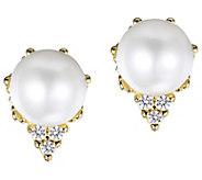 Judith Ripka 14K Gold Pearl & Diamond Accent Stud Earrings - J384749