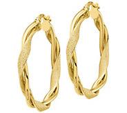 Italian Gold Polished & Textured Twisted Hoop Earrings, 14K - J385649