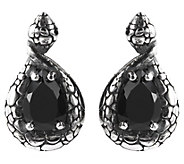 Mistero Sterling Silver Black Spinel Pear-Shaped Earrings - J386549