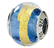 Prerogatives Sterling Blue/Gold Italian MuranoGlass Bead - J111750