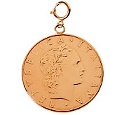 50 Lire Coin Charm, 14K Rose Gold - J310050