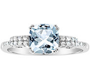 1.00 ctw Aquamarine & 1/10 cttw Diamond Ring, Sterling - J311550