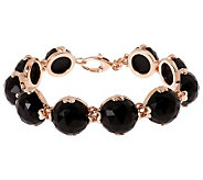 Bronze 7-3/4 Faceted Onyx Bracelet by Bronzo Italia - J311950