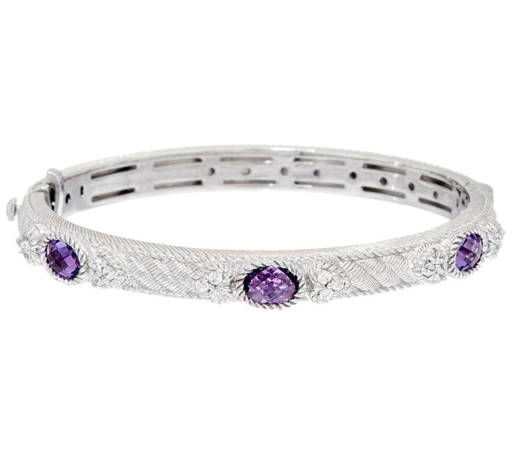 Judith Ripka Gemstone Diamonique Romance Bangle Bracelet Page 1 Qvc