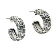 JAI Sterling Leopard Texture Hoop Earrings - J346650
