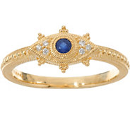 Judith Ripka 14K Gold Sapphire & Diamond Evil Eye Ring - J348050