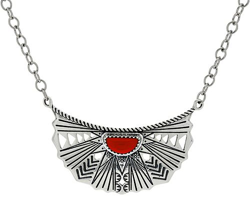 American West Red Coral Sterling Sun RayNecklace