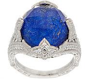 Judith Ripka Sterling Silver Lapis Doublet & 3/4 cttw Diamonique Ring - J350450