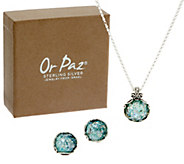 Or Paz Sterling Silver Roman Glass Necklace & Earrings Set - J351150